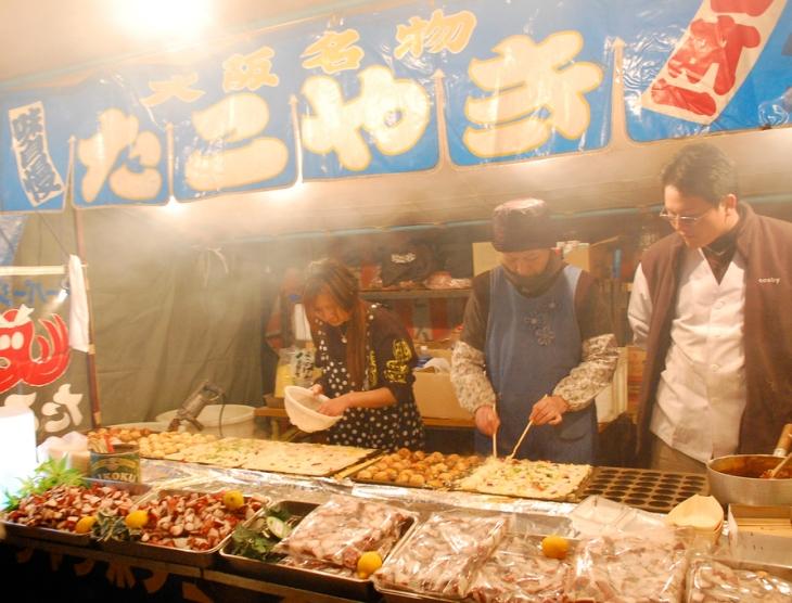 Takoyaki street vendor in Osaka