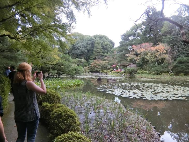 Students in the beautiful gardens of Heian Shrine