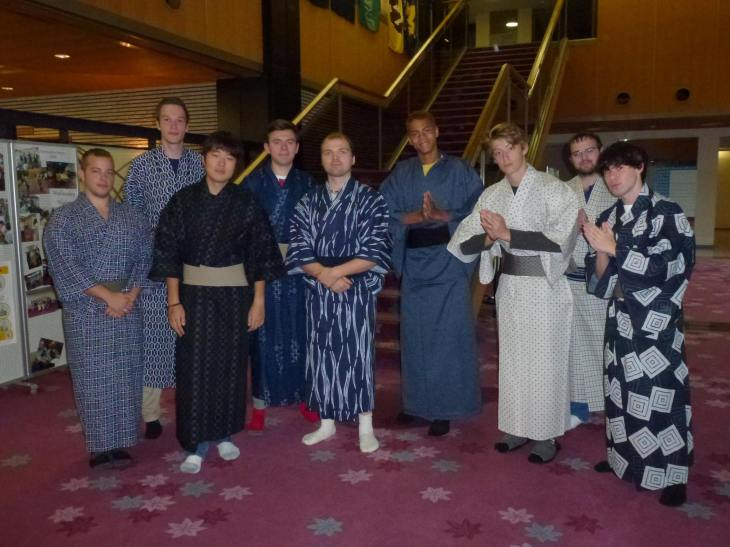 Fall students in kimono