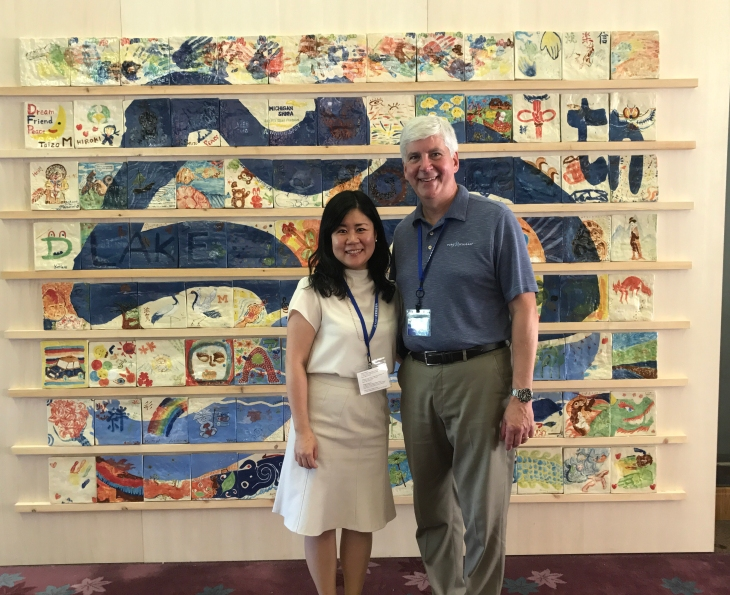 JOI - Kanako with Michigan Governor Rick Snyder on the 50th anniversary of the Michigan-Shiga Sister State Relationship