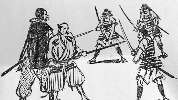 Grayscale drawing of samurai wielding swords against each other