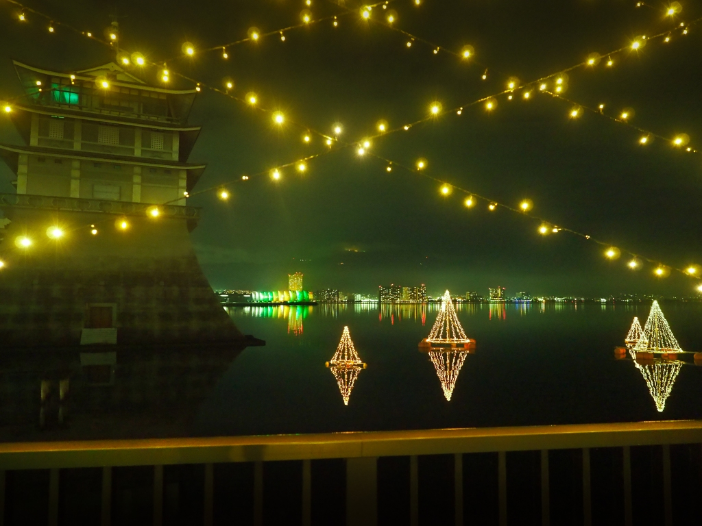 Lights display on Lake Biwa